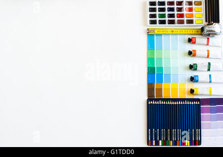 Flat lay of Interior designer and architect working space. Flatlay view, negative space, room for text - Stock Photo