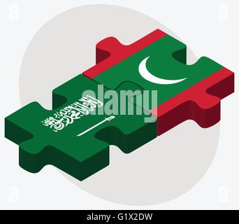 Saudi Arabia and Maldives Flags in puzzle isolated on white background - Stock Photo
