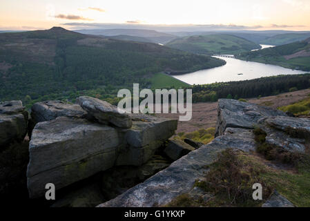 View of Winhill and Ladybower reservoir from Bamford edge on a beautiful evening after sunset in the Peak District, - Stock Photo