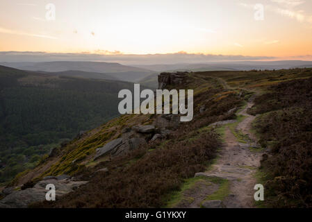 View of hills from Bamford edge on a beautiful evening after sunset in the Peak District, Derbyshire. - Stock Photo