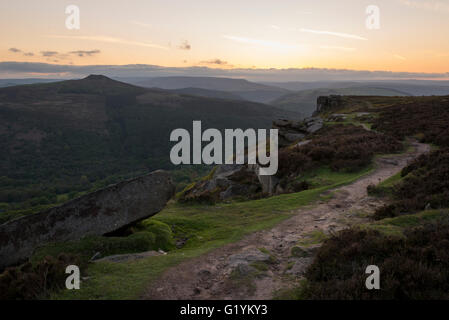 View of Winhill from Bamford edge on a beautiful evening after sunset in the Peak District, Derbyshire. - Stock Photo