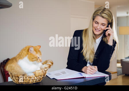 Attractive middle-aged business woman using a phone and making notes. Red haired cat sitting in woven basket next - Stock Photo