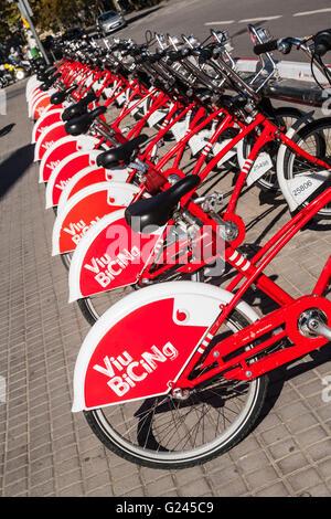 Barcelona rental city bikes and bike stand. Public ...