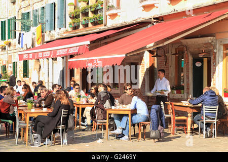 Restaurants Osteria Do Torri and Pier Dickens at campo Santa Margherita - Stock Photo
