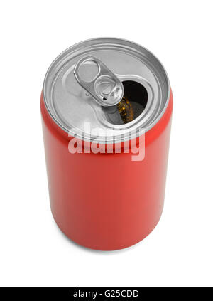 Open Red Soda Can with Copy Space Isolated on White Background. - Stock Photo