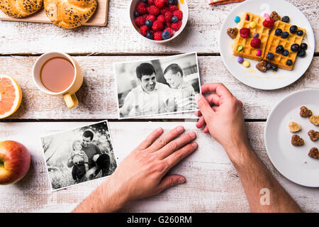 Fathers day composition. Black-and-white photos, breakfast meal - Stock Photo