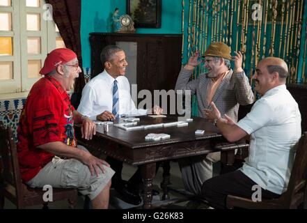 President Barack Obama participates in a comedy skit with Cuban comedian Panfilo, second from right, in Havana, - Stock Photo