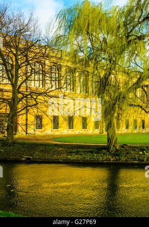 Rear facade of the Wren Library at Trinity College, Cambridge, England seen across the river Cam - Stock Photo
