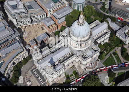 An aerial view of St Pauls Cathedral, London - Stock Photo