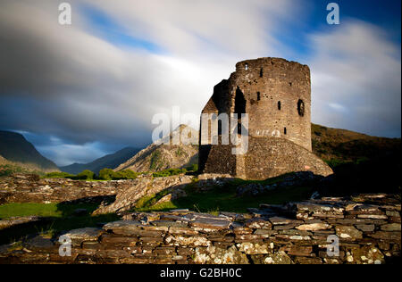Photograph by © Jamie Callister. Sunset at Dolbadarn Castle, Snowdonia, Gwynedd, North Wales, 21st of May 2016. - Stock Photo