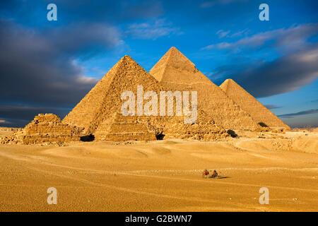 The pyramids of Giza near Cairo - Stock Photo