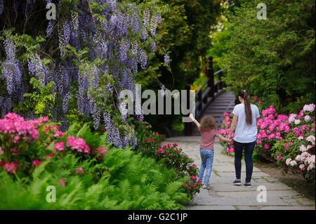 Mother and daughter on a walk in a Japanese garden. The woman holding the hand of a little girl. They walk on foot - Stock Photo