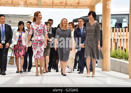 Sophie Gregoire-Trudeau, wife of Canada's Prime Minister Justin Trudeau, left, walks with Malgorzata Tusk, wife - Stock Photo