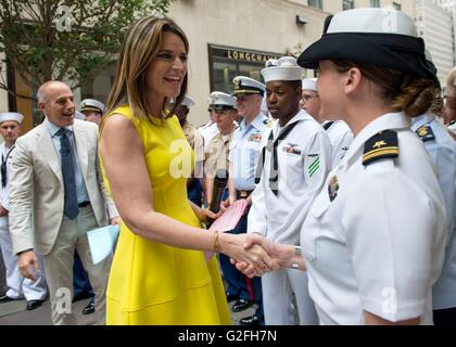 NBC Today show host Savannah Guthrie meets sailors in Time Square during Fleet Week May 27, 2016 in New York, NY. - Stock Photo