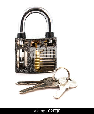 Cut Away Padlock with keys showing how a Padlock Works on a White Background - Stock Photo