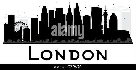 London Eye Wheel City Skyline Black And White Silhouette Vector Illustration Simple Flat Concept For Tourism
