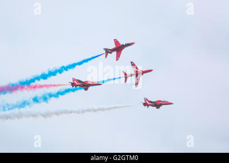 Four Hawk aircraft of the Royal Air Force Red Arrows  Display team at Durham Tees Valley Airport 2016 - Stock Photo