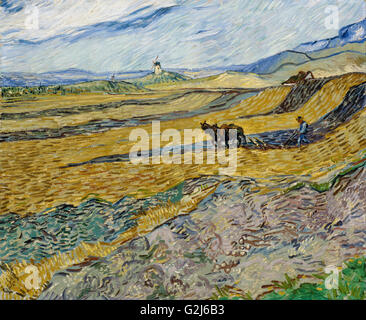 Vincent van Gogh - Enclosed Field with Ploughman - Museum of Fine Arts, Boston - Stock Photo