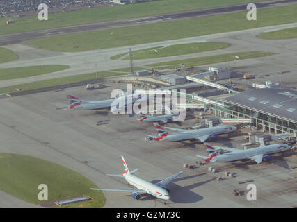 Aerial view of London's Heathrow Airport Terminal 5 - Stock Photo