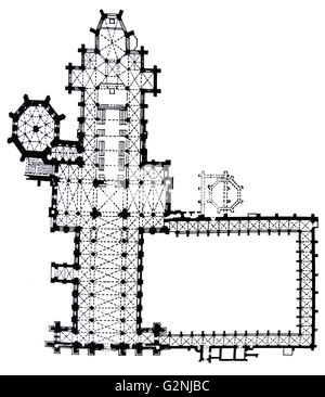 WELLS CATHEDRAL floor plan. Somerset. BAEDEKER, 1910 antique map ...