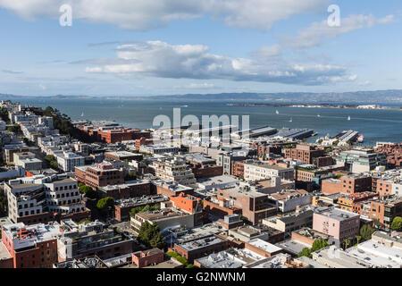 San Francisco city and bay view towards Oakland. - Stock Photo