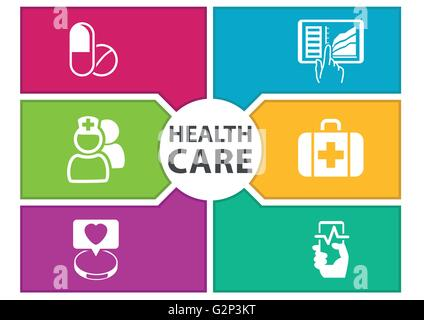 Colorful digital healthcare background with icons regarding wearables, dashboard, tablets, medicine, smart phone - Stock Photo