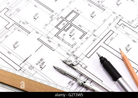 Technical Drawing Tools Compass Ruler And Try Square