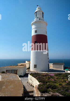 The Europa Point Lighthouse, Gibraltar, built by Governor Sir Alexander Woodford between 1838 and 1841 - Stock Photo