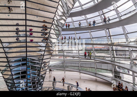 The Interior of The Reichstag Building ,which houses The German Bundestag or German Parliament with large glass - Stock Photo