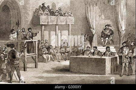 John Lambert's Trial Before King Henry VIII, Westminster, England, 1538 - Stock Photo