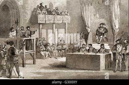 John Lambert's Trial Before King Henry VIII, Westminster, England, 1538 - Stock Photo