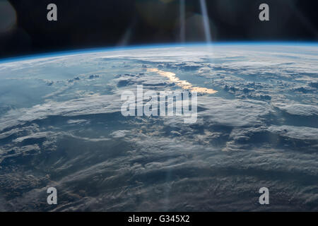 International Space Station Earth observation image captured by Expedition 47 members looking from Northwestern - Stock Photo