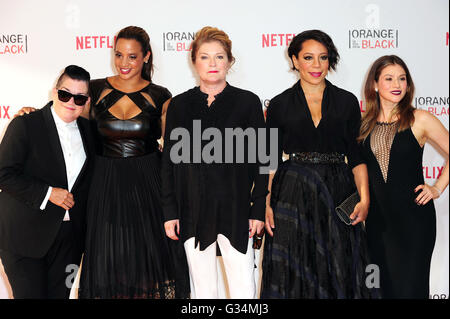 Berlin, Germany. 7th June, 2016. Actresses and cast members Lea DeLaria, Dascha Polanco, Kate Mulgrew, Selenis Leyva, - Stockfoto