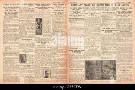 1916 Daily Sketch pages 2 & 3 Slingsby Baby case and victory for General Smuts in German East Africa - Stock Photo