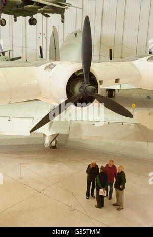 Visitors in  'Airspace', part of the Imperial War Museum, Duxford, Cambridgeshire UK - Stock Photo