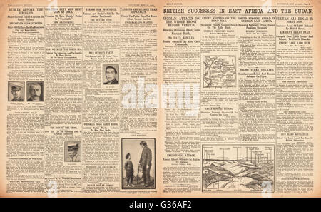 1916 Daily Sketch pages 2 & 3 British army success in East Africa and Sudan - Stock Photo