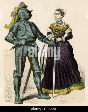 Knight in armour and his lady          Date: 1570 - Stock Photo