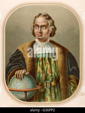 Christopher Columbus, Italian navigator, coloniser and explorer on behalf of Spain.  He undertook four voyages of - Stock Photo