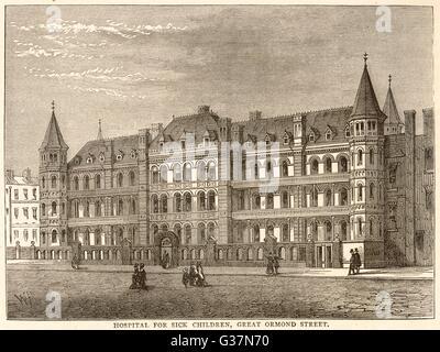 Hospital for sick children, GT  Ormond St.        Date: Circa 1880 - Stock Photo