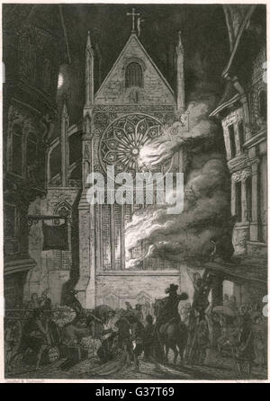 The destruction of old Saint  Paul's cathedral         Date: 2 - 6 September 1666 - Stockfoto