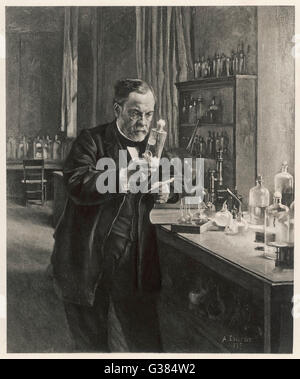 LOUIS PASTEUR  in his laboratory in 1885        Date: 1822-1895 - Stockfoto