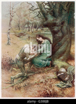 A medieval Knight, with his  young lover, gets down on one  knee...        Date: First published: 1898 - Stock Photo