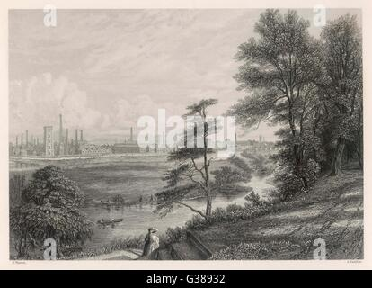 General view of industry in Burton on Trent.         Date: Circa 1840 - Stock Photo
