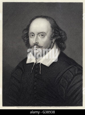 WILLIAM SHAKESPEARE (1564 - 1616) English playwright and poet.  Rectangular portrait. - Stock Photo