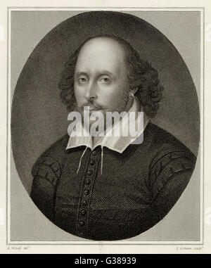 WILLIAM SHAKESPEARE (1564 - 1616) English playwright and poet.  Oval portrait. - Stock Photo