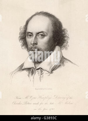 WILLIAM SHAKESPEARE (1564 - 1616) English playwright and poet.  'Cut-out' portrait. - Stock Photo
