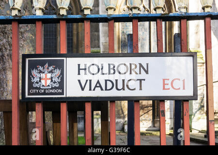 A street sign for Holborn Viaduct in the City of London. - Stock Photo