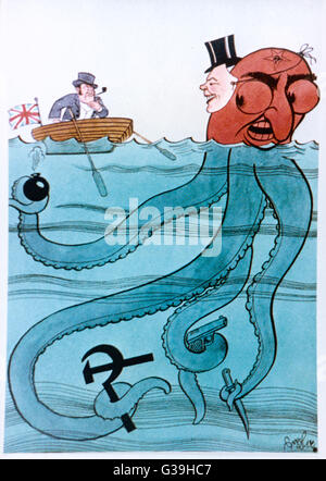 A Nazi propaganda poster  claiming that John Bull is  being fooled by the Jewish  octopus of Bolshevism       Date: - Stock Photo