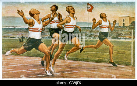 """""""RUNNERS REACH THEIR GOAL""""  Art as propaganda intended to  spur the German people on to  reach the ideals - Stock Photo"""