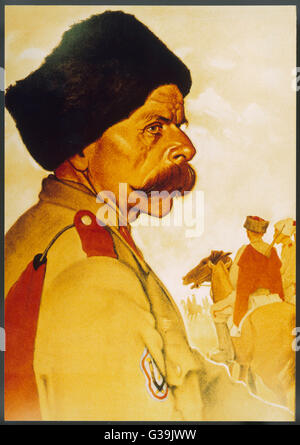 Pro-German Cossacks as  depicted in Nazi art.         Date: circa 1943 - Stock Photo